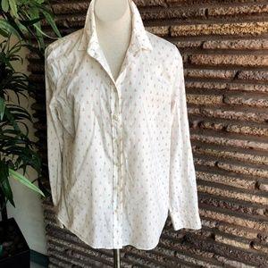 J. Crew Pink Anchors Lightweight Cotton Shirt